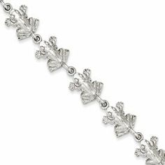 """Sterling Silver Frogs Bracelet 7"""" Polished Figural Amphibian Animal Jewelry Sterling Silver. $51.00. Polished Finish. Lobster Clasp. Casted & Solid. Sterling silver. 7"""" Length"""