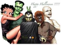Monsters with Betty boop Betty Boop Doll, Betty Boop Halloween, Halloween Cartoons, Halloween And More, Happy Halloween, Betty Boop Pictures, Frankenstein's Monster, Cartoon Art, Animation