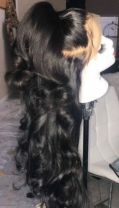 Beautiful long wavy wigs for black women lace front wigs human hair wigs long wavy hairstyles - August 31 2019 at Afro Wigs, Curly Wigs, Afro Hair, Curly Lob, Curly Lace Front Wigs, My Hairstyle, Wig Hairstyles, Black Hairstyles, Wedding Hairstyles