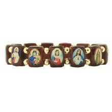 Saints Wood Bracelet with Gold Color Beads - Small Squares - Made in Brazil