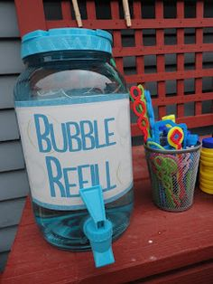 Bubble Party! Use small plastic containers with the wands and adults can help refill for a fun backyard party. Can be part of a bubble & balloon theme.