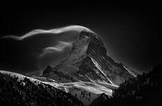 The Matterhorn under a full moon #beautiful