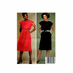 1980s Misses Dress and Tie Belt McCalls 8995 Vintage Sewing Pattern
