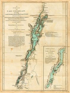 Antique survey of Lake Champlain and Lake George from 1776
