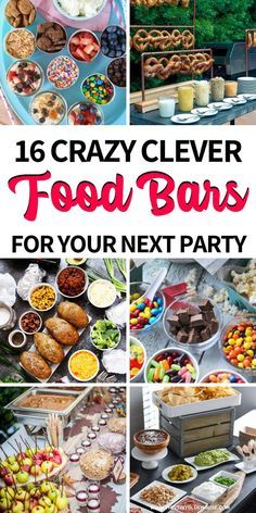 Incorporate these fabulous food bar ideas into your next party and wow your guests. Clever and most of all delicious these food bars are a guranteed hit. party food 15 Fabulous Food Bar Ideas For Any Event - Smart Party Ideas Party Food Bars, Snacks Für Party, Food For Party Buffet, Best Party Food, Food For Parties, Lunch Party Ideas, Bbq Food Ideas Party, Birthday Party Food For Kids, Taco Bar Buffet