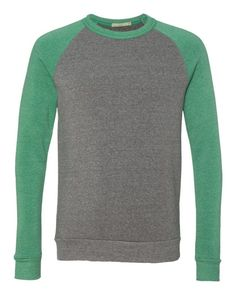 Alternative Eco Grey And Eco True Green The Champ Unisex Colorblocked Eco Fleece Crewneck Sweatshirt - 32022 (FREE SHIPPING)