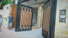 Modern Main Gate Designs, Iron Main Gate Design, Wooden Gate Designs, Home Gate Design, Gate Wall Design, Grill Gate Design, Modern Fence Design, Steel Gate Design, Front Gate Design