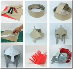 step by step helmet Cardboard Costume, Cardboard Art, Roman Helmet, Roman Soldier Helmet, Diy And Crafts, Arts And Crafts, Paper Crafts, Mythology Costumes, Homemade Costumes