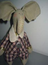 Künstlerpuppe Elefant Tilda 29cm Handarbeit Puppe Stoffpuppe Deko Shabby L9