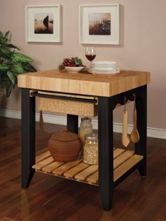 Color Story Black Butcher Block Kitchen Island by Powell - http://www.furniturendecor.com/color-story-black-butcher-block-kitchen-island-by-powell/ - Categories:Dining Room Furniture, Furniture, Home and Kitchen, Kitchen Furniture, Storage Carts