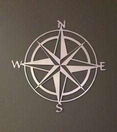 "Nautical Compass Rose Metal Wall Art 36"""