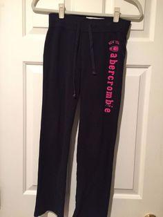 4ee9d6c79e Abercrombie Kids Black Sweat Pants w Pink Logo - Girls Size M (10)