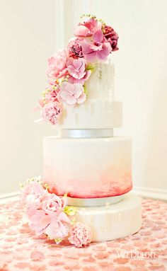 Cascading Clear Beads on Pink Ombre Wedding Cake