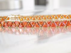 Sterling Silver 925 Sim Orange Mexican Fire Opal Trillion Tennis Line Bracelet #Designer #Tennis