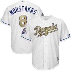 a77d691fa Mike Moustakas Kansas City Royals Majestic 2015 World Series Champions Gold  Program Cool Base Player Jersey - White