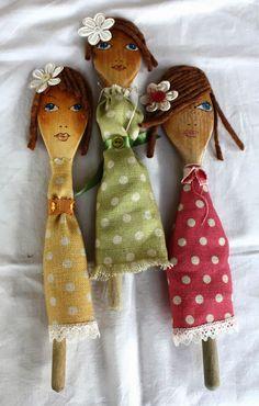 Entre Barrancos (MANUALIDADES): Muñecas con cuchara de palo