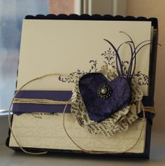 Shabby Navy & Cream Card...with wrinkled heart & twine.