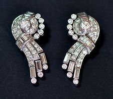Art Deco Halley's Comet Diamond Earrings Ear Clips 5.00cts in Platinum