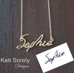 N E W -  Your Hand Written Name or Signature Necklace- Send Your Handwritten Name and We Will Craft It From Precious Metals