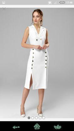 Trendy dress white midi casual in 2020 Trendy Dresses, Simple Dresses, Nice Dresses, Casual Dresses, Fashion Dresses, Formal Dresses, Classy Dress, Classy Outfits, White Fashion