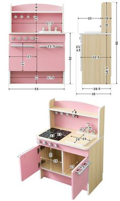 Cardboard Kitchen, Wooden Play Kitchen, Toy Kitchen, Cardboard Crafts, Diy Kids Kitchen, Kitchen Sets For Kids, Diy Childrens Furniture, Kids Furniture, Barbie Furniture