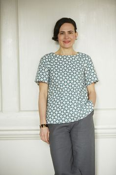 Smock in P15 Blue Cotton Print