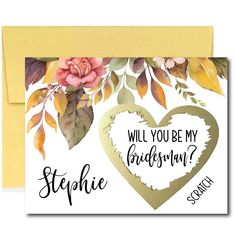 Fall Bridesmaid Proposal Scratch Card, Custom Will You Be My Bridesmaid, Ask Bridesmaid Card, Maid of Honor Asking Card, Proposal Box Gift Asking Bridesmaids, Will You Be My Bridesmaid, Ways To Propose, Bridal Shower Planning, Scratch Off Cards, Bridesmaid Proposal Cards, Wedding Stickers, My Flower, Maid Of Honor