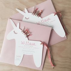 The SWEETEST unicorn invitations going around! Each invite is printed with your childs name and party information and has lovely eye lashes cut out.There are two options available, either you can assemble the mane and tail yourself with the twine I provide, or if you are short on time you can have them completely pre made for you.Each invite comes with a 16cm pale pink envelope that the unicorn fits perfectly into.Please email the invitation details to me at piccolostud...