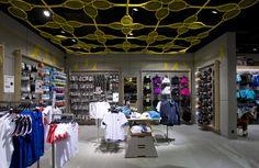 Sportmaster flagship store by Riis Retail, Kolding – Denmark Retail Store Design, Retail Shop, Optical Shop, Monochrome Color, Urban Architecture, Retail Interior, Modern Family, Ceiling Design, Denmark