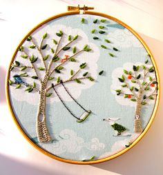 Personalise - Windy Day -  Hand Embroidery Hoop Art - 8 x 8 inch Embroidered Picture - by mirrymirry. via Etsy.