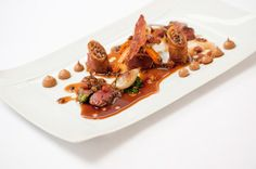 Photo of: Roasted saddle and leg of hare, braised shoulder with celériac purée, lentils,<br /> ventreche bacon and braising jus, Pied à Terre, Central London restaurant