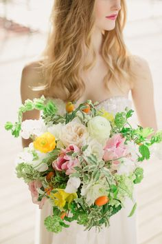 Colorful summer bridal bouquet | Ling Wang Photography | see more on: http://burnettsboards.com/2014/05/playful-summer-citrus-wedding/ #wedding #bouquet