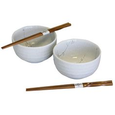 Japan Centre - White Plum Blossom Rice Bowl & Chopsticks Set | Japan... (1,145 PHP) ❤ liked on Polyvore featuring home, kitchen & dining, etc, fillers, food and other