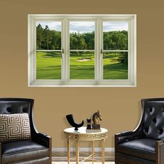 The Spring Golf Tee Box: Instant Window wall decal provides an easy decorating solution. All of Fathead's Instant Windows wall decals are reusable without damaging walls.