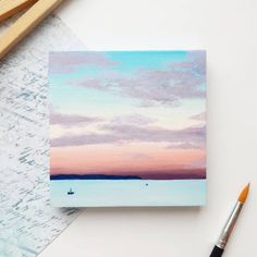 Mini sunset painting with easel! Hand painted little wooden canvas tiny original artwork on wood small square art. Pastel colors sunrise by ERAartsShop Small Canvas Paintings, Easy Canvas Art, Small Canvas Art, Cute Paintings, Mini Canvas Art, Sunset Paintings, Indian Paintings, Diy Canvas, Canvas Painting Tutorials
