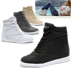 Womens  High Top Sneakers Wedge Trainers Shoes / Ladies Platform Ankle Boots