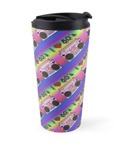 'Colorful Boombox Retro Pattern Travel Mug by HavenDesign Retro Pattern, Boombox, Travel Mugs, My Coffee, Colorful Backgrounds, I Shop, Corner, Friends, Creative