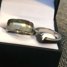 Matching wedding rings decorated with bone make a set that is sure to stand the test of time! Unique Wedding Bands, Wedding Jewelry, Wedding Rings, Dinosaur Bones, Take That, Engagement Rings, How To Make, Ring, Enagement Rings