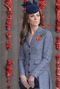 25th of April - Kate wearing a poppy brooch given to her the night before by the wife of Corporal Ben Roberts-Smith V.C. As well as her diamond drop earrings and her Asprey acorn charm pendant.