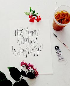 This Morning, With Her, Having Coffee - 8 x 10 - Calligraphy Art Print Calligraphy Drawing, How To Write Calligraphy, Calligraphy Handwriting, Calligraphy Letters, Penmanship, Caligraphy, Modern Calligraphy, Calligraphy Course, Creative Lettering
