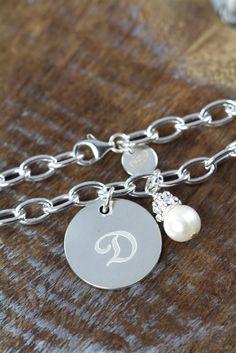 3 Personalized Bridesmaids Monogram Bracelets 925 Sterling Silver - Wedding Jewelry #BridesmaidGift #WeddingJewelry #BridesmaidJewelry