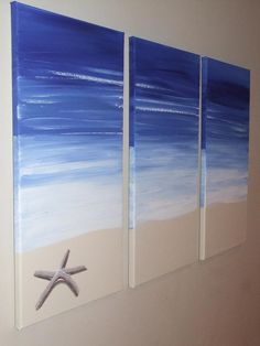 Playa azul mar marino Original lienzo de pintura por