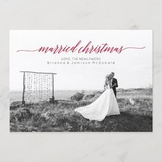 Married Christmas Newlywed Photo Holiday Card Marry Christmas Card, First Christmas Married, Merry Christmas, Christmas Couple, Christmas Photo Cards, Christmas Photos, Holiday Cards, Newlywed Christmas Card, Christmas Text