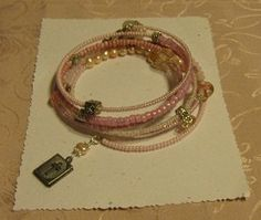 Pink Breast Cancer Awareness Bible Locket Beaded Memory Wire Wrap Bracelet by crafts4thecure, $10.50