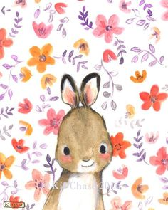 Add a Bohemian splash of color to your little bunny's room with this sweet, hand-painted print! - art print from an original watercolor, gouache, and acrylic painting by Kit Chase. - archival matte pa