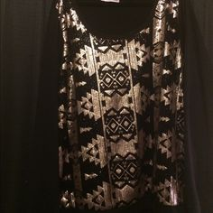 Black and gold sequin sweater Black and gold sequins on black sweater. Back is not sequined. I can't find any missing sequins. Usually I find that sequined clothes are uncomfortable to me but this has a second layer in the front to protect the skin. Very comfy! Maurices Sweaters Crew & Scoop Necks