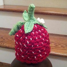 Crochet infant strawberry hat