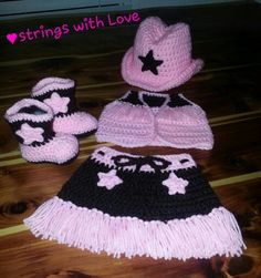 Crocheted Newborn cowgirl set! Hat and boots patterns from The Lovely Crow and the vest and skirt are from Nana's Whimsical Crochet (Carolyn VanOstran)