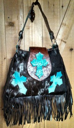 Boot Stitch Cross Cowhide Purse