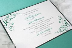 Tiffany Blue and Pewter Swirl Wedding Invitation by SDezigns, $7.50